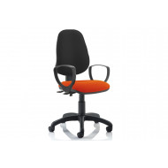 Lunar 2 Lever Two Tone Fabric Operator Chair (Fixed Arms)