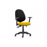 Lunar Plus 3 Lever 2 Tone Fabric Operator Chair (Adjustable Arms)