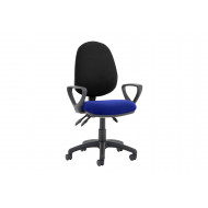 Lunar Plus 3 Lever 2 Tone Fabric Operator Chair (Fixed Arms)