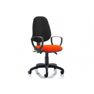Lunar 3 Lever Two Tone Fabric Operator Chair (Fixed Arms)