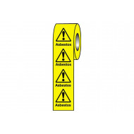 Asbestos safety labels on a roll