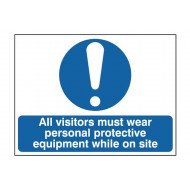 All Visitors Must Wear Personal Protective Equipment While On Site Sign
