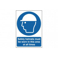 Safety Helmets Must Be Worn In This Area At All Times Safety Sign