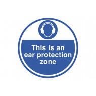 This is an ear protection zone anti-slip floor sign