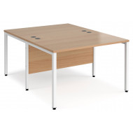 Value Line Deluxe Bench Back to Back Rectangular Desks (White Legs)