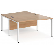 Value Line Deluxe Bench Back to Back Wave Desks (White Legs)