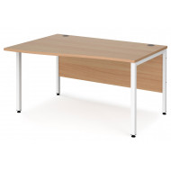 Value Line Deluxe Bench Left Hand Wave Desks (White Legs)