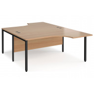 Value Line Deluxe Bench Back to Back Ergo Desks (Black Legs)