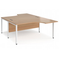 Value Line Deluxe Bench Back to Back Ergo Desks (White Legs)