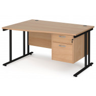 Next-Day Value Line Deluxe C-Leg Left Hand Wave Desk 2 Drawers (Black Legs)