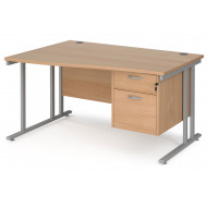 Next-Day Value Line Deluxe C-Leg Left Hand Wave Desk 2 Drawers (Silver Legs)