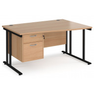 Next-Day Value Line Deluxe C-Leg Right Hand Wave Desk 2 Drawers (Black Legs)