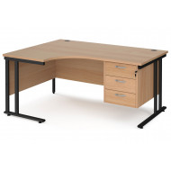 Value Line Deluxe C-Leg Left Hand Ergonomic Desk 3 Drawers (Black Legs)