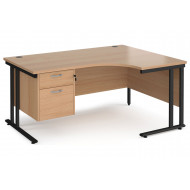 Value Line Deluxe C-Leg Right Hand Ergonomic Desk 2 Drawers (Black Legs)
