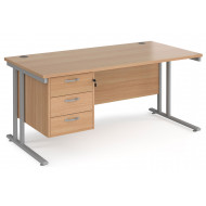 Value Line Deluxe C-Leg Rectangular Desk 3 Drawers (Silver Legs)