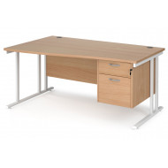 Value Line Deluxe C-Leg Left Hand Wave Desk 2 Drawers (White Legs)