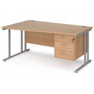 Value Line Deluxe C-Leg Left Hand Wave Desk 3 Drawers (Silver Legs)