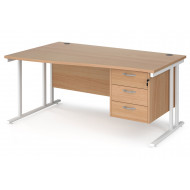 Value Line Deluxe C-Leg Left Hand Wave Desk 3 Drawers (White Legs)