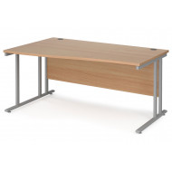 Value Line Deluxe C-Leg Left Hand Wave Desk (Silver Legs)