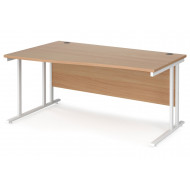 Value Line Deluxe C-Leg Left Hand Wave Desk (White Legs)