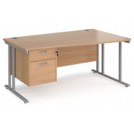 Value Line Deluxe C-Leg Right Hand Wave Desk 2 Drawers (Silver Legs)