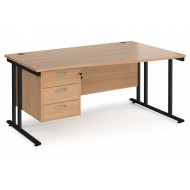 Value Line Deluxe C-Leg Right Hand Wave Desk 3 Drawers (Black Legs)