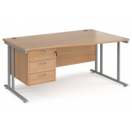 Value Line Deluxe C-Leg Right Hand Wave Desk 3 Drawers (Silver Legs)