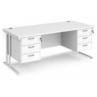 All White Premium C-Leg Rectangular Desk 3+3 Drawers