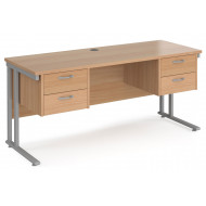 Value Line Deluxe C-Leg Narrow Rectangular Desk 2+2 Drawers (Silver Legs)