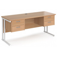 Value Line Deluxe C-Leg Narrow Rectangular Desk 2+2 Drawers (White Legs)
