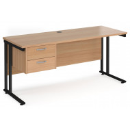 Value Line Deluxe C-Leg Narrow Rectangular Desk 2 Drawers (Black Legs)