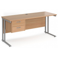 Value Line Deluxe C-Leg Narrow Rectangular Desk 2 Drawers (Silver Legs)