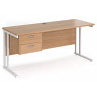 Value Line Deluxe C-Leg Narrow Rectangular Desk 2 Drawers (White Legs)