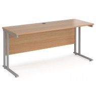 Value Line Deluxe C-Leg Narrow Rectangular Desk (Silver Legs)