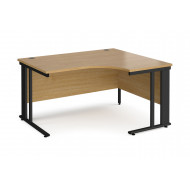 Value Line Deluxe Cable Managed Right Hand Ergo Desk (Black Legs)