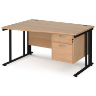 Next-Day Value Line Deluxe Cable Managed Left Hand Wave Desk 2 Drawers (Black Legs)