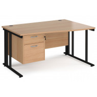 Next-Day Value Line Deluxe Cable Managed Right Hand Wave Desk 2 Drawers (Black Legs)