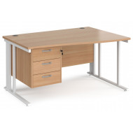 Next-Day Value Line Deluxe Cable Managed Right Hand Wave Desk 3 Drawers (White Legs)
