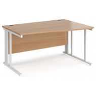 Next-Day Value Line Deluxe Cable Managed Right Hand Wave Desk (White Legs)