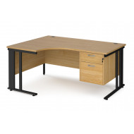 Value Line Deluxe Cable Managed Left Hand Ergo Desk 2 Drawers (Black Legs)