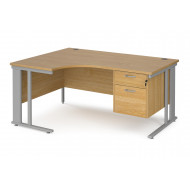 Value Line Deluxe Cable Managed Left Hand Ergo Desk 2 Drawers (Silver Legs)