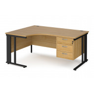 Value Line Deluxe Cable Managed Left Hand Ergo Desk 3 Drawers (Black Legs)