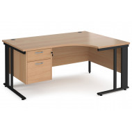 Next-Day Value Line Deluxe Cable Managed Right Hand Ergo Desk 2 Drawers (Black Legs)
