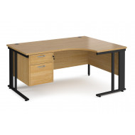 Value Line Deluxe Cable Managed Right Hand Ergo Desk 2 Drawers (Black Legs)