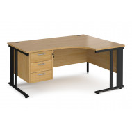 Value Line Deluxe Cable Managed Right Hand Ergo Desk 3 Drawers (Black Legs)