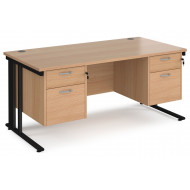 Next-Day Value Line Deluxe Cable Managed Rectangular Desk 2+2 Drawers (Black Legs)
