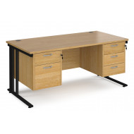Value Line Deluxe Cable Managed Rectangular Desk 2+3 Drawers (Black Legs)