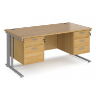 Value Line Deluxe Cable Managed Rectangular Desk 2+3 Drawers (Silver Legs)