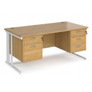 Value Line Deluxe Cable Managed Rectangular Desk 2+2 Drawers (White Legs)