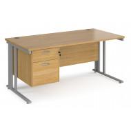Value Line Deluxe Cable Managed Rectangular Desk 2 Drawers (Silver Legs)